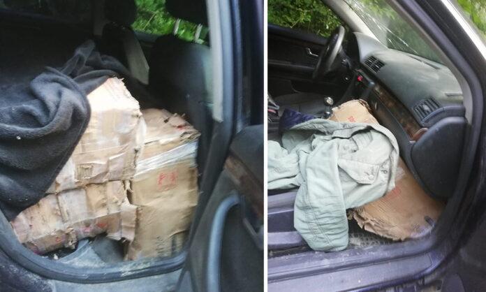 Un contrabandist și-a abandonat mașina plină cu țigări de contrabandă și a fugit în pădure VIDEO