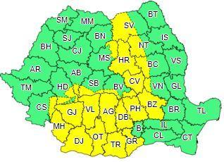 Cod galben de instabilitate atmosferică pentru zona de munte a județului Suceava