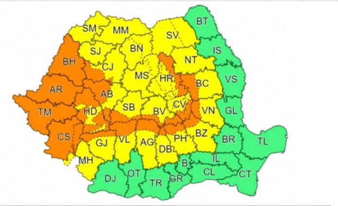 Cod galben de ploi însemnate cantitativ și instabilitate atmosferică pentru județul Suceava