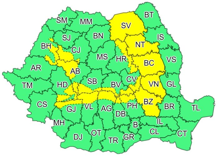 Cod galben de instabilitate atmosferică accentuată pentru județul Suceava