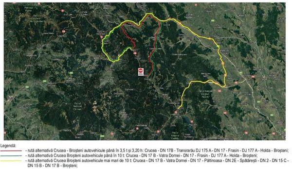 Stâncile care blochează DN 17 B, în zona localității Holda, vor fi detonate joi după-amiază