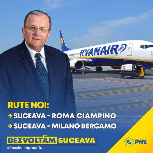 Gheorghe Flutur: Ryanair va avea zboruri de pe Aeroportul Suceava către Roma și Milano