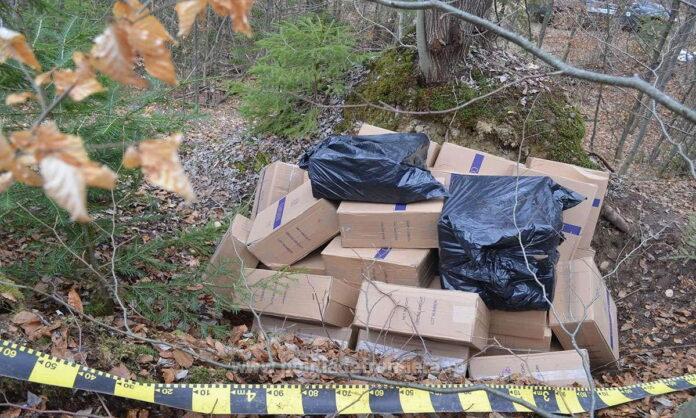 14.000 de pachete cu țigări de contrabandă descoperite ascunse într-o pădure din Costileva FOTO