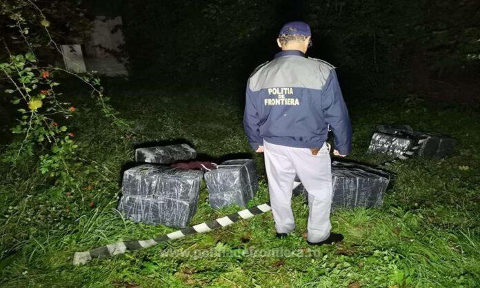Colete cu țigări de contrabandă în valoare de 76.000 de lei abandonate de cărăuși la Costileva