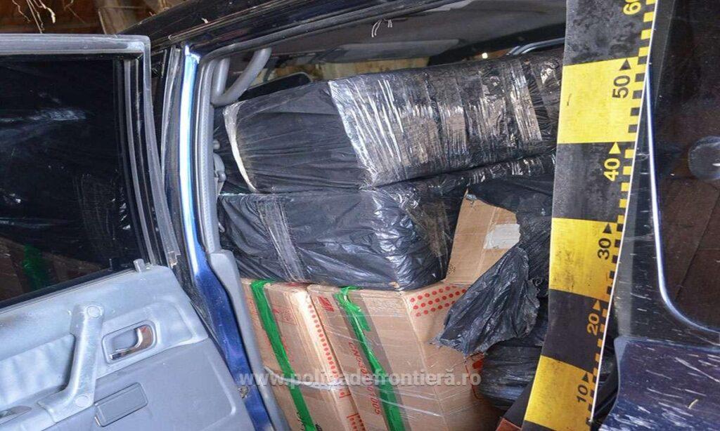 Autoturism plin cu țigări de contrabandă descoperit în curtea unui imobil din Bilca VIDEO
